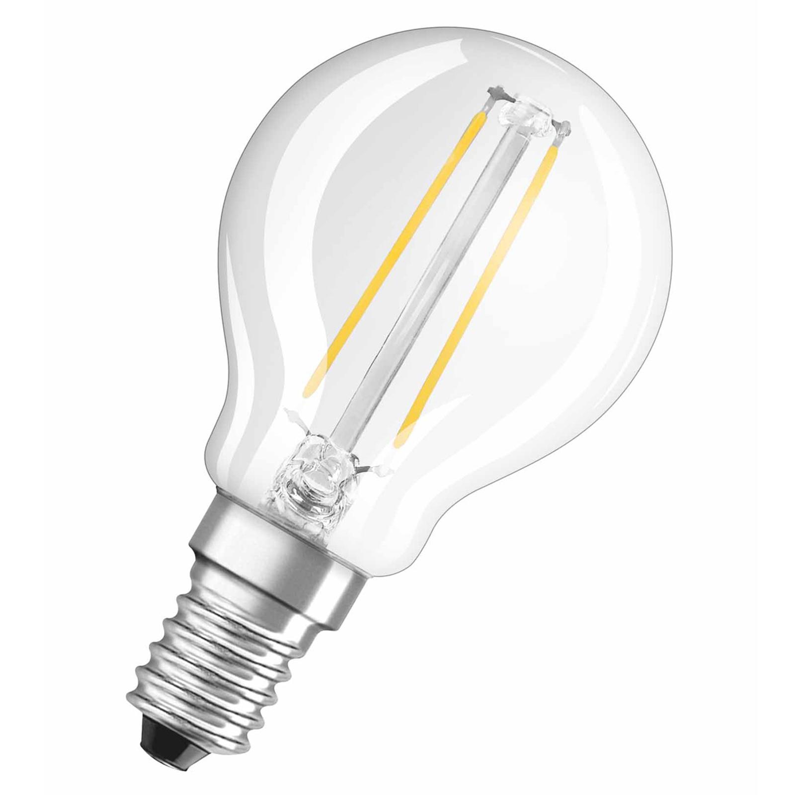 OSRAM-LED-golfpallolamppu E14 1,5W 827 kirkas