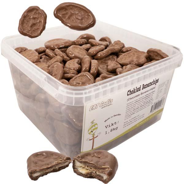 Bananchips med choklad - 1,8 kg