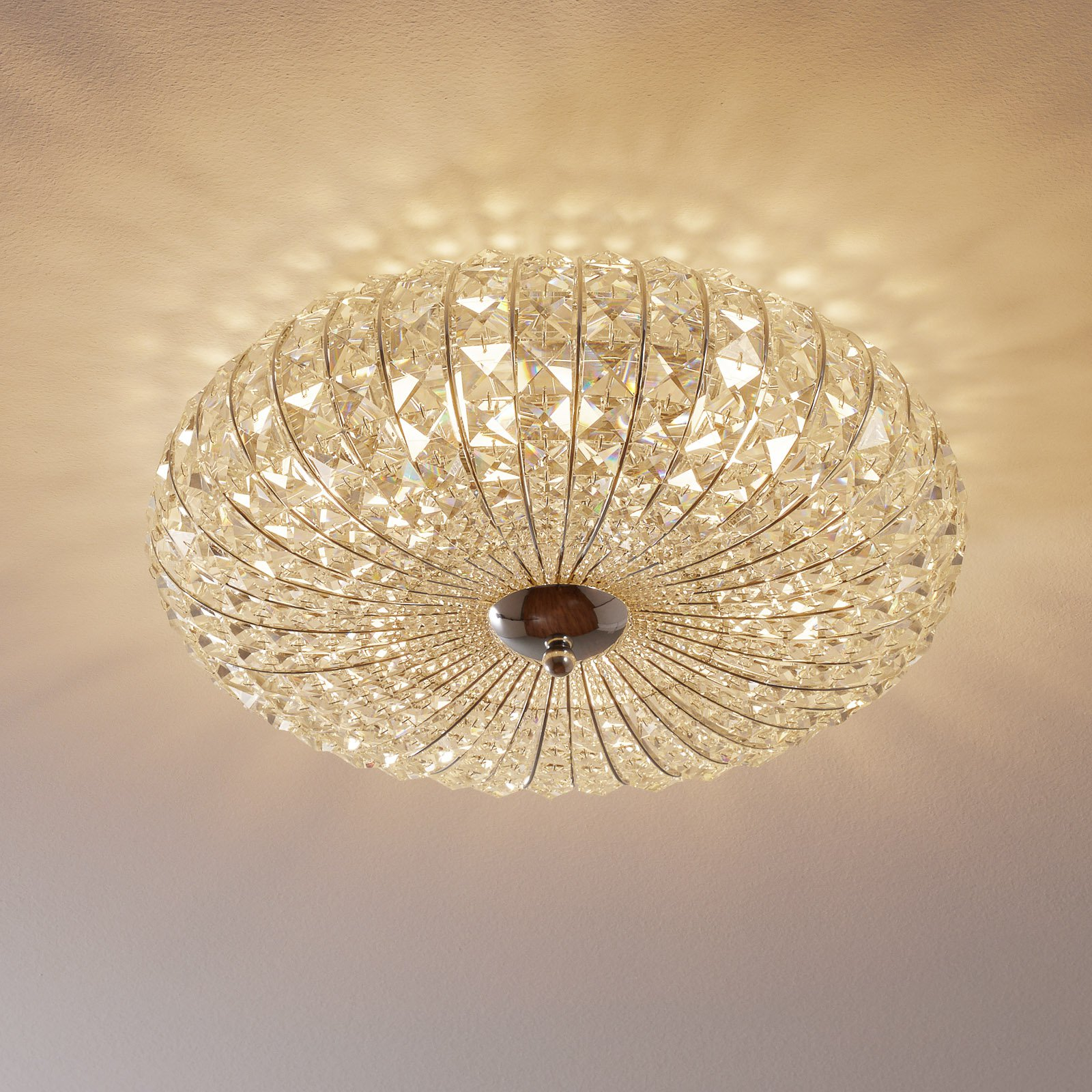 Broche taklampe med krystaller, Ø 49 cm