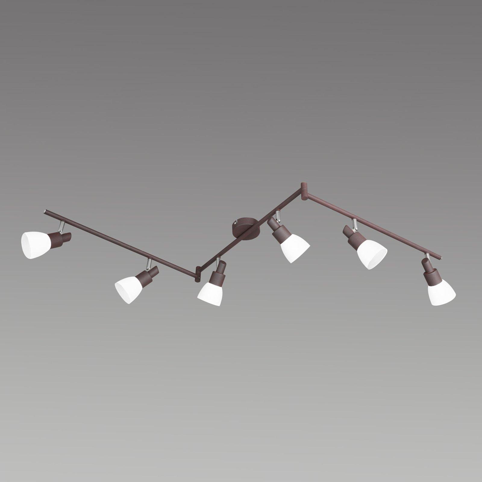LED-taklampe Eve i antikkbrunt, 6 lys