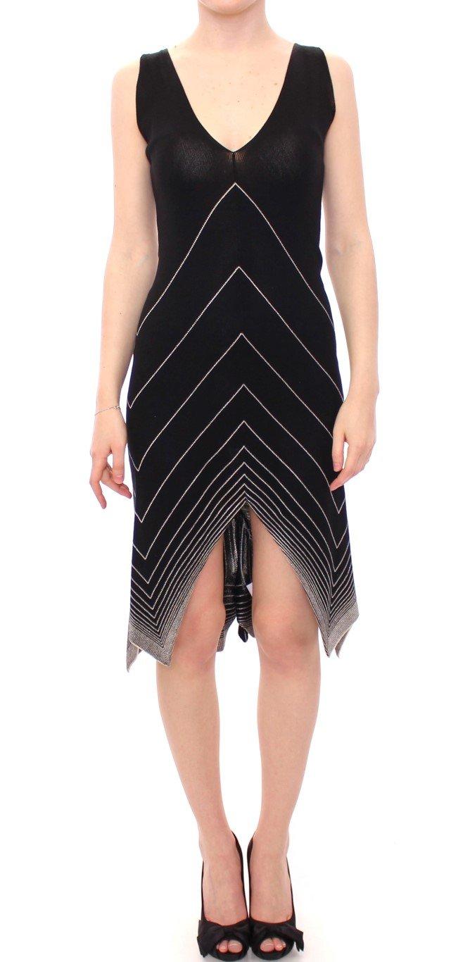 Alice Palmer Women's Low V Neck Knitted Cocktail Dress Black/White MOM10061 - M