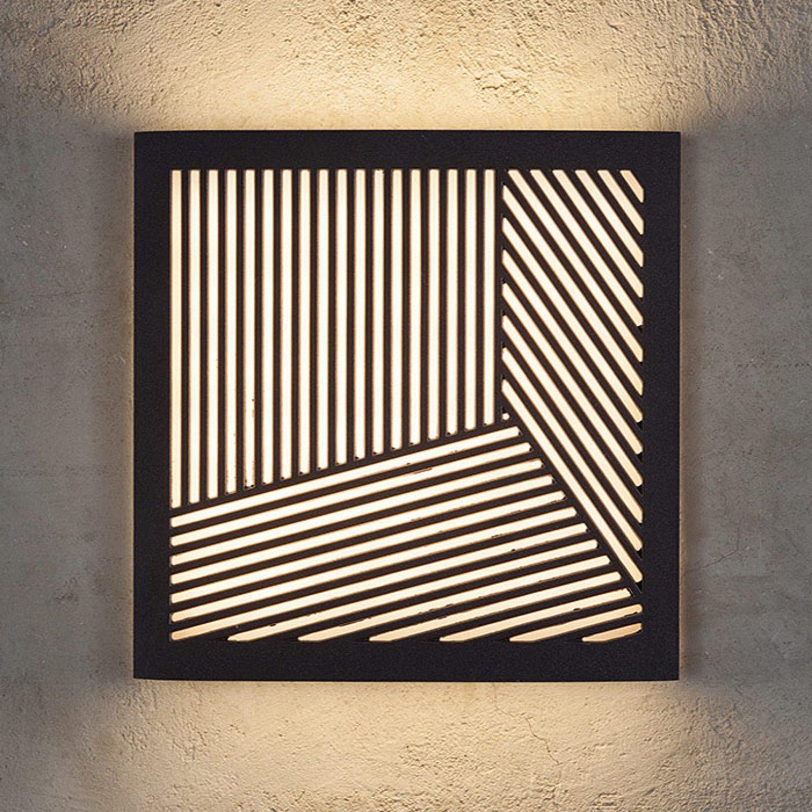 Utendørs LED-vegglampe Maze Straight i svart