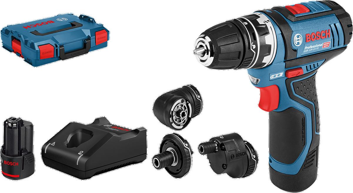 Bosch Professional - GSR 12V-15 FC - Cordless Drill Driver - Complete Set