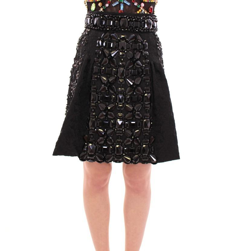 Dolce & Gabbana Women's Crystal Skirt Black GSD12657-1 - IT42|M