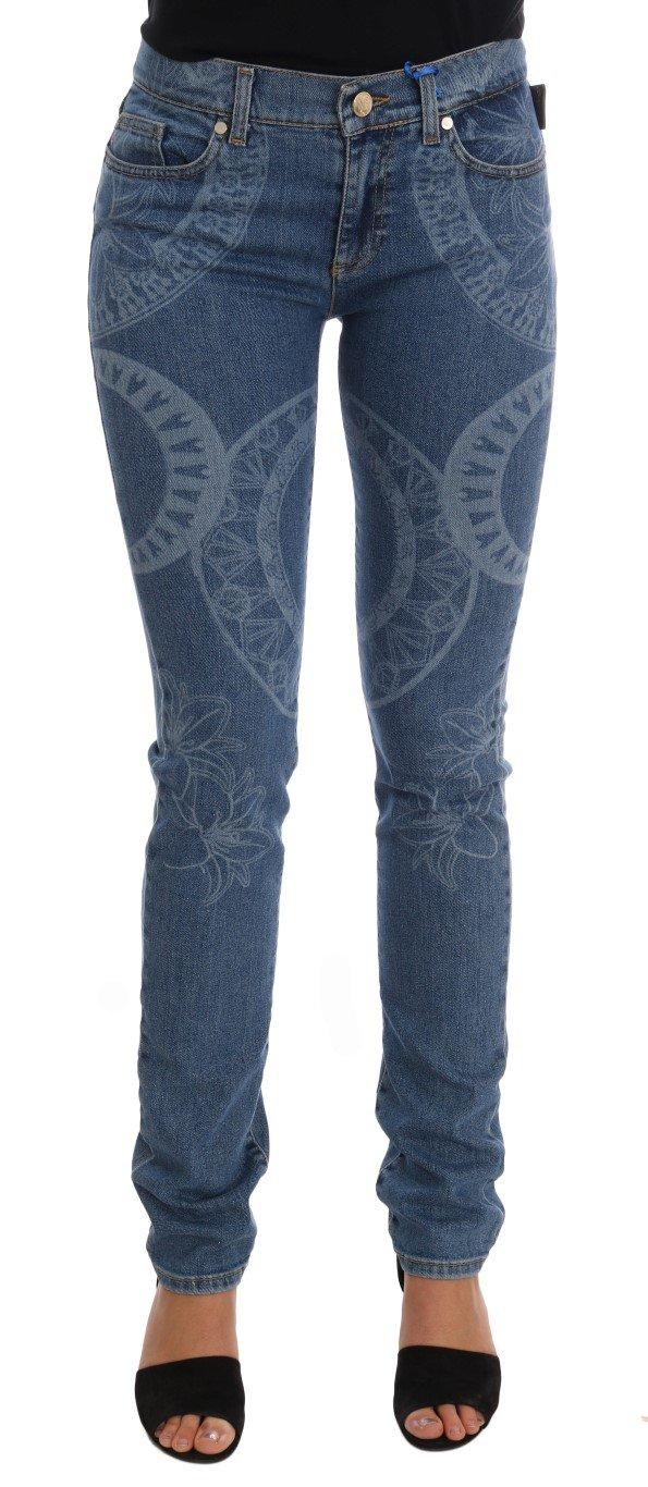 Versace Jeans Women's Wash Print Stretch Slim Fit Jeans Blue PAN60772 - W27
