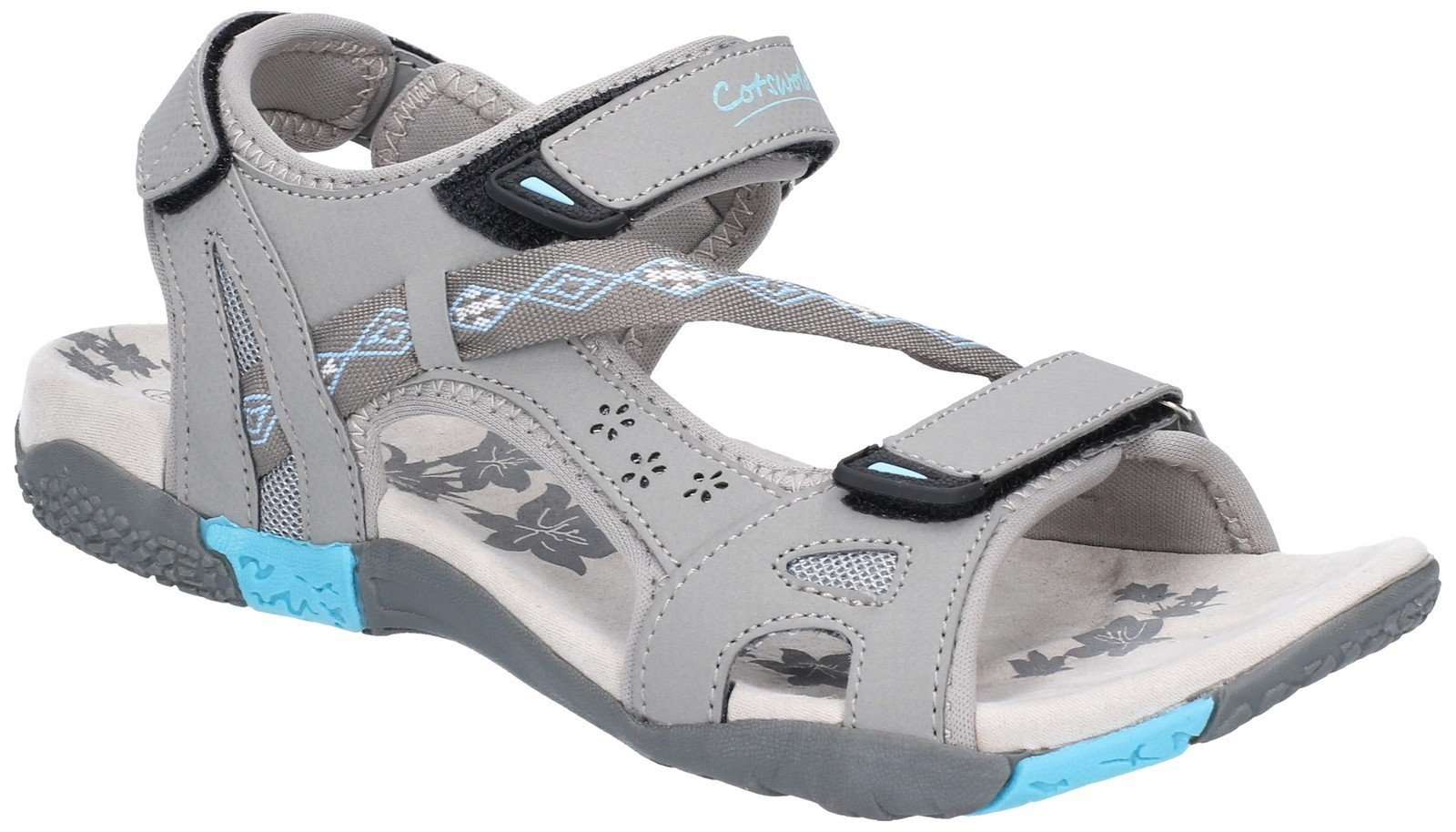Cotswold Women's Whichford Touch Fasten Sandal Various Colours 28233 - Grey/Light Blue 3