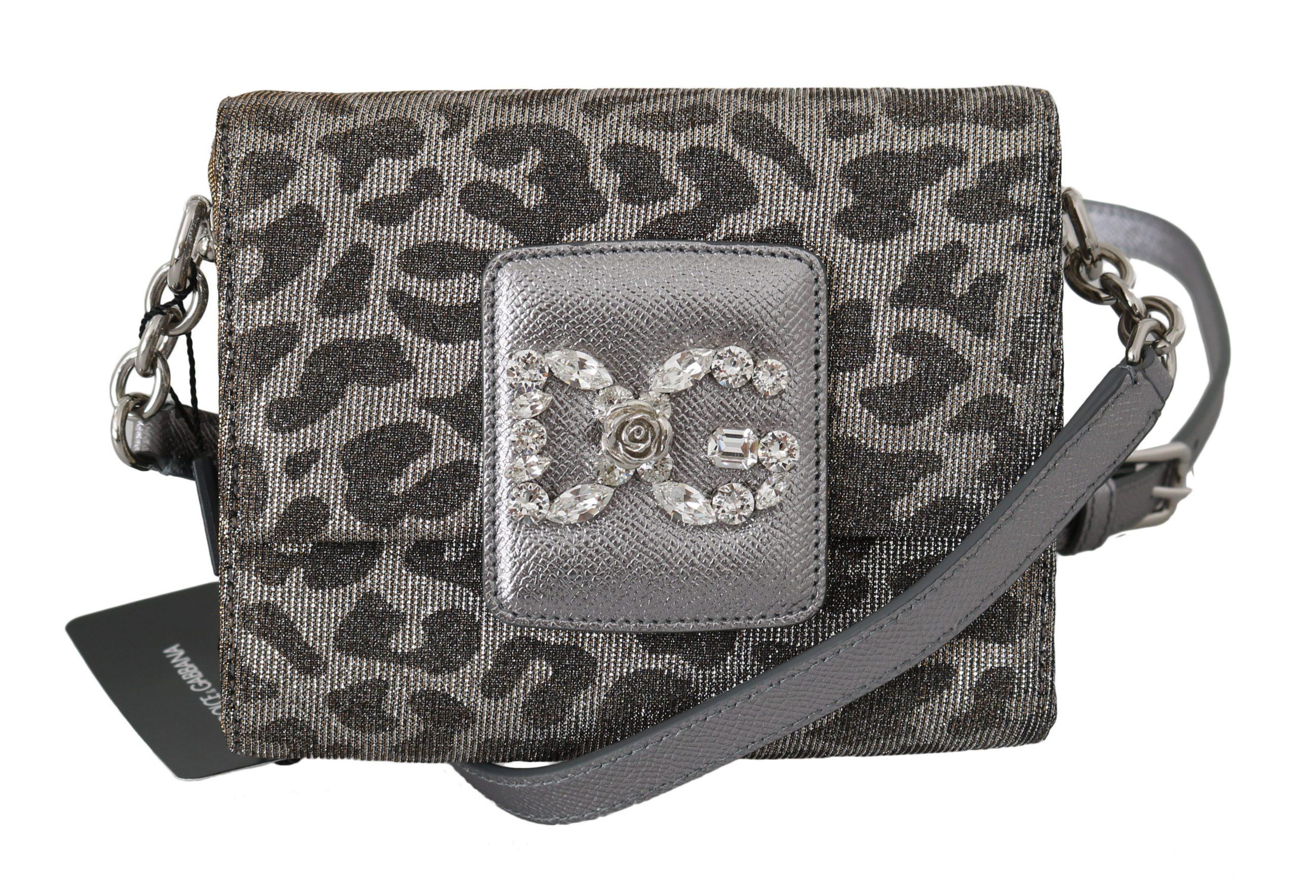 Dolce & Gabbana Women's Leopard Mini Crystal Crossbody Bag Gray VAS8785