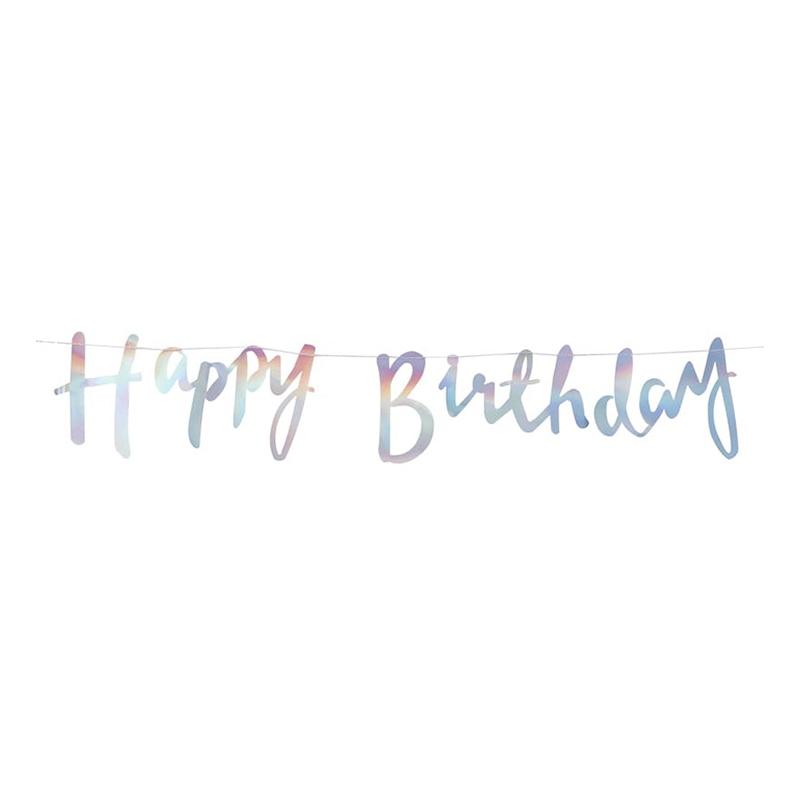 Girlang Happy Birthday Metallic Färgskimrande