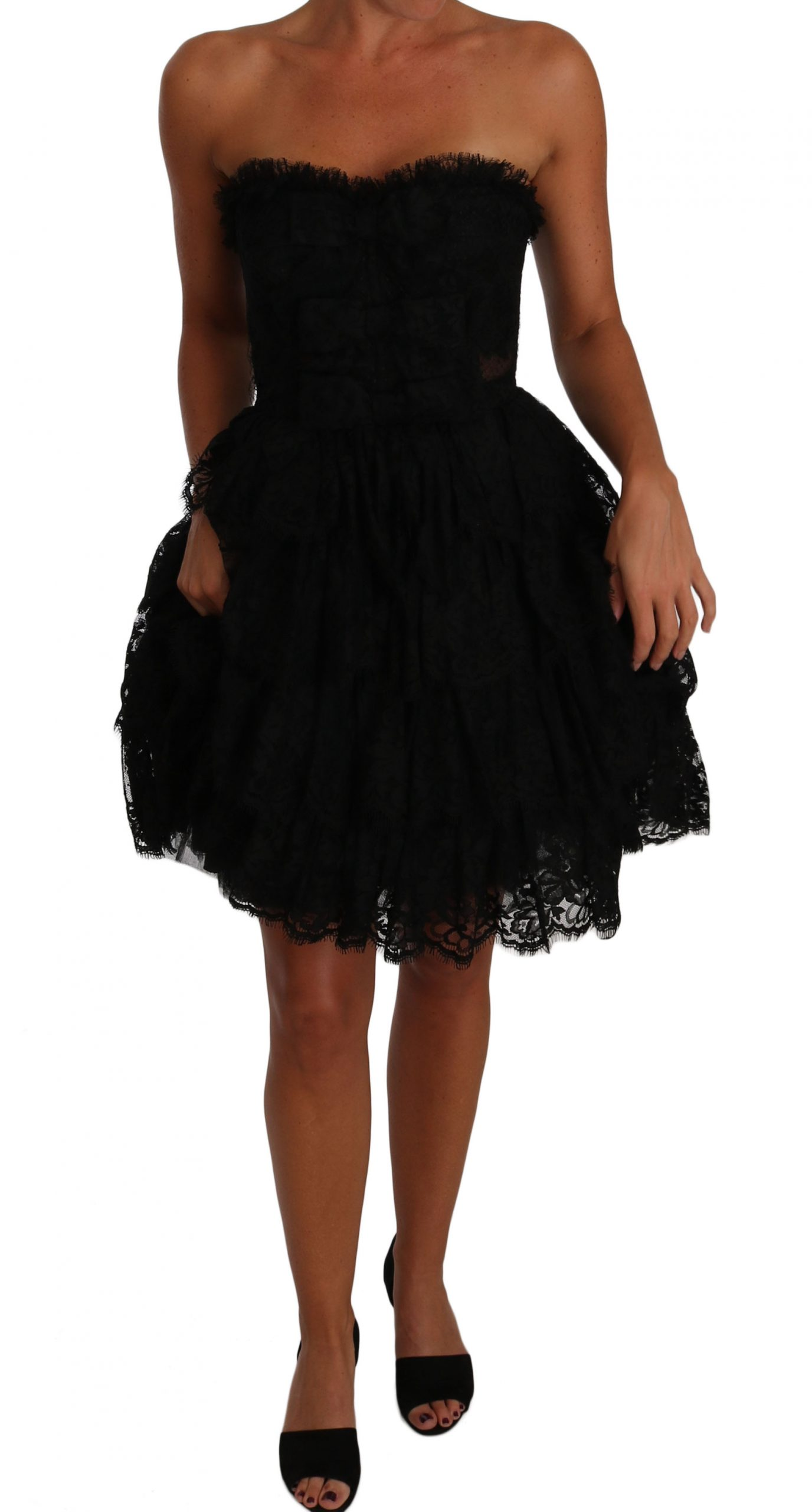 Dolce & Gabbana Women's Floral Lace Ball Mini Ruffle Dress Black DR1507 - IT38|XS