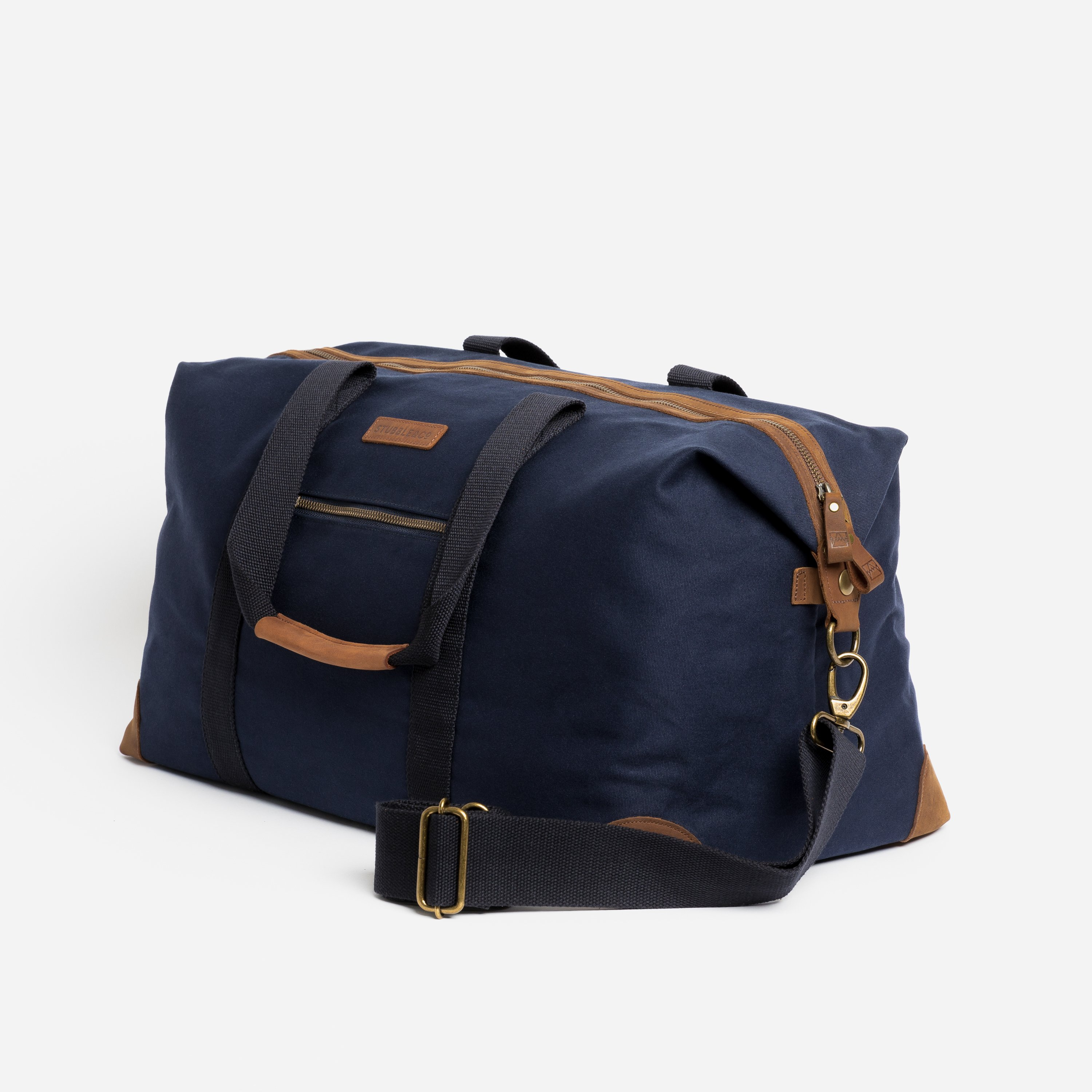 """The Weekender. Waterproofed Canvas and Leather Holdall. 15"""" Laptop Pocket., Navy"""