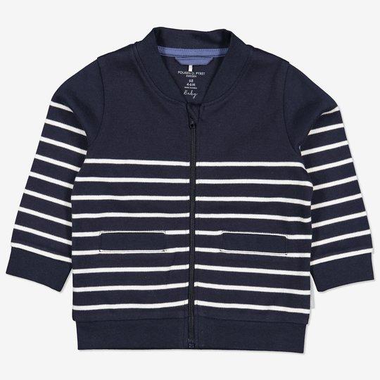 Stripet sweatshirtjakke mørkblå