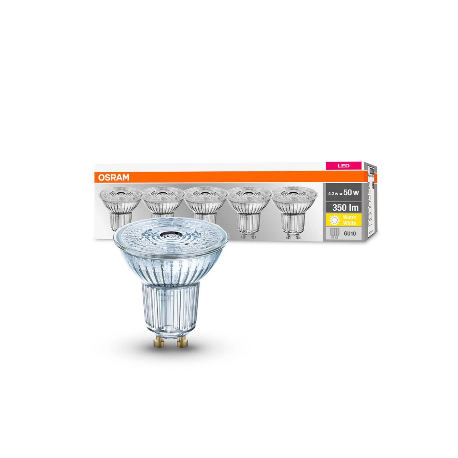 OSRAM-LED-heljastin GU10 4,3W 36° 2700K 350lm, 5