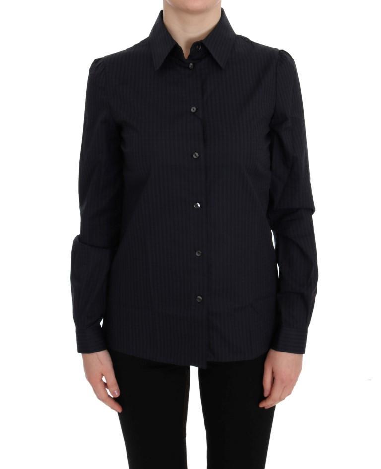 Dolce & Gabbana Women's Striped Button Down Shirt Blue SIG50538 - IT42 M