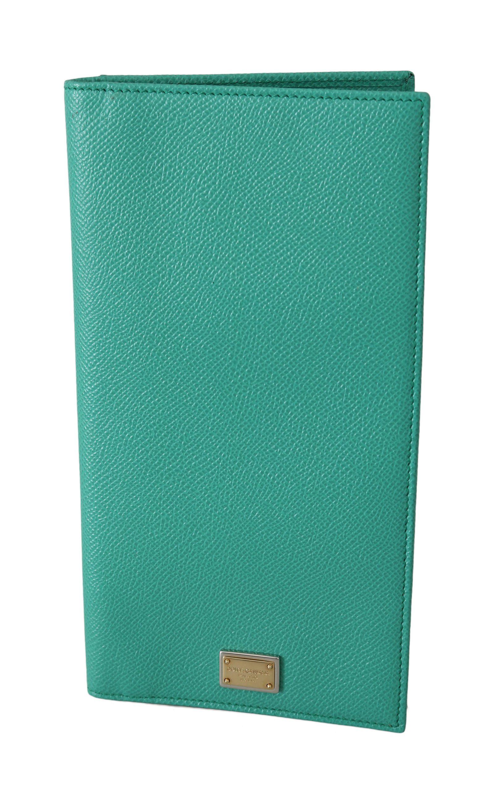 Dolce & Gabbana Women's Leather Card Holder Case Long Bifold Purse Wallet Green VAS8609