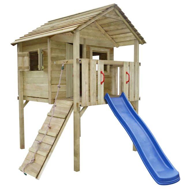 vidaXL Lekplats med stege och rutchkana 360x255x295 cm trä