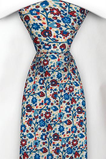 Silke Slips, Små blå & røde blomster på hvit base, Hvit, Blomster