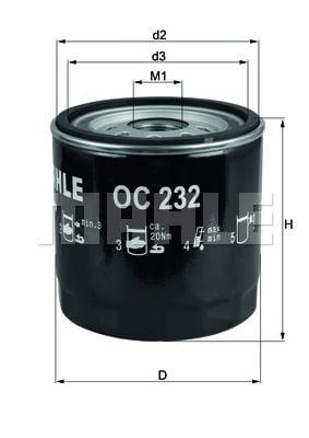 Öljynsuodatin MAHLE ORIGINAL OC 232