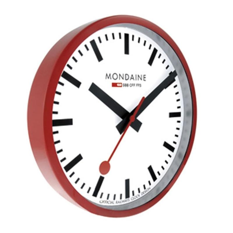 Mondaine Red Wall Clock White Dial MON131