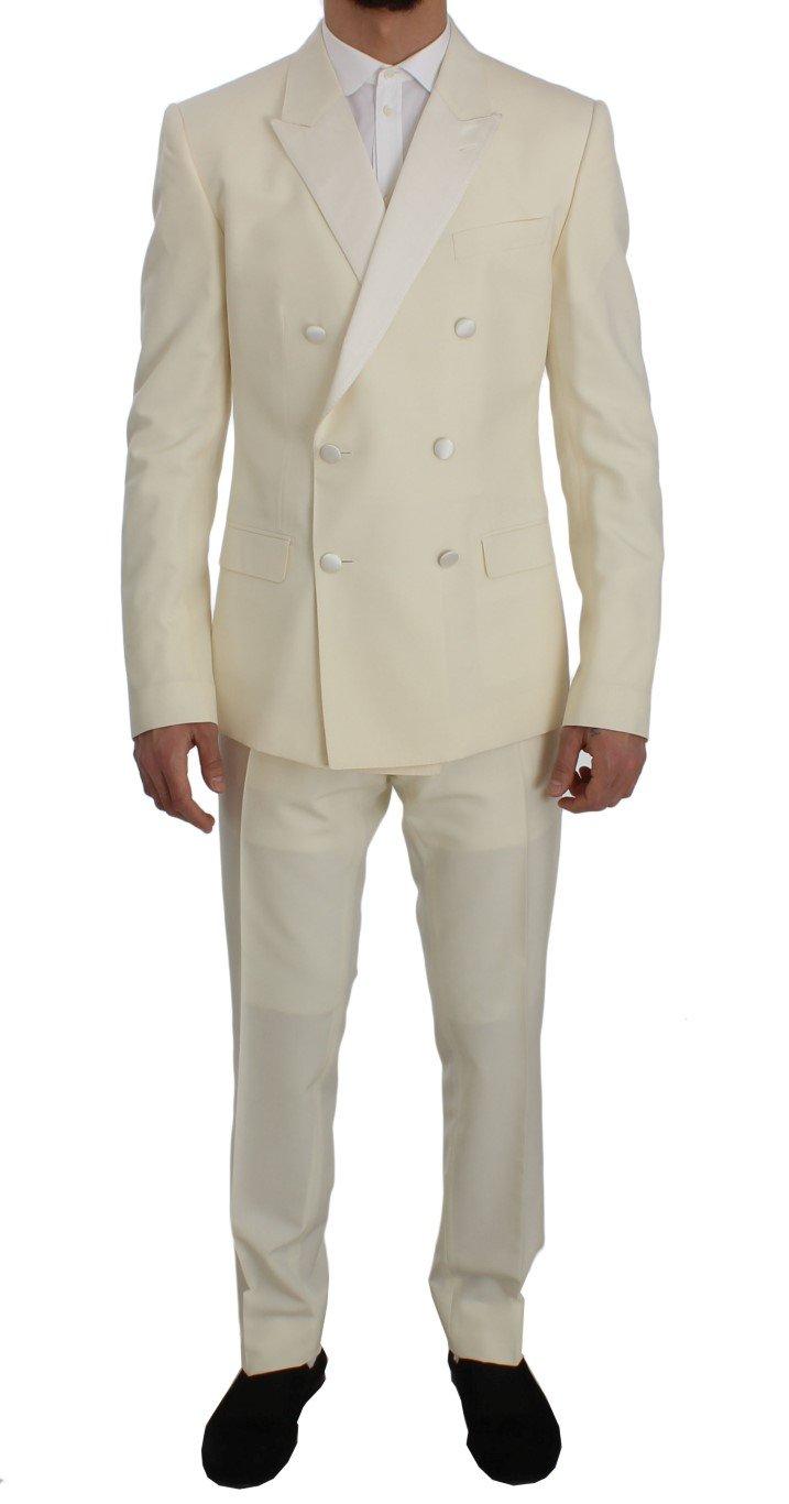 Dolce & Gabbana Men's Wool Silk Slim Fit 3 Piece Suit White SIG50083 - IT50 | L