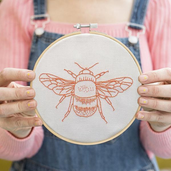 Bee Embroidery Orange Hoop Kit