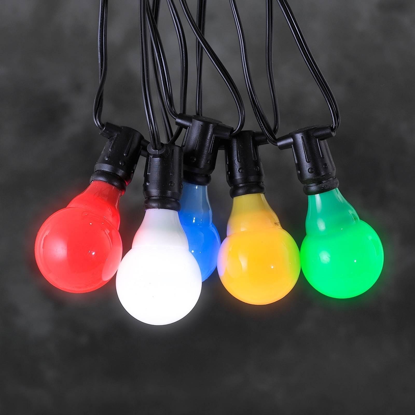 24V-järjestelmä terassivaloketju LED E10 värikäs