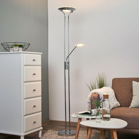 Aras - LED-gulvlampe med leselampe, krom
