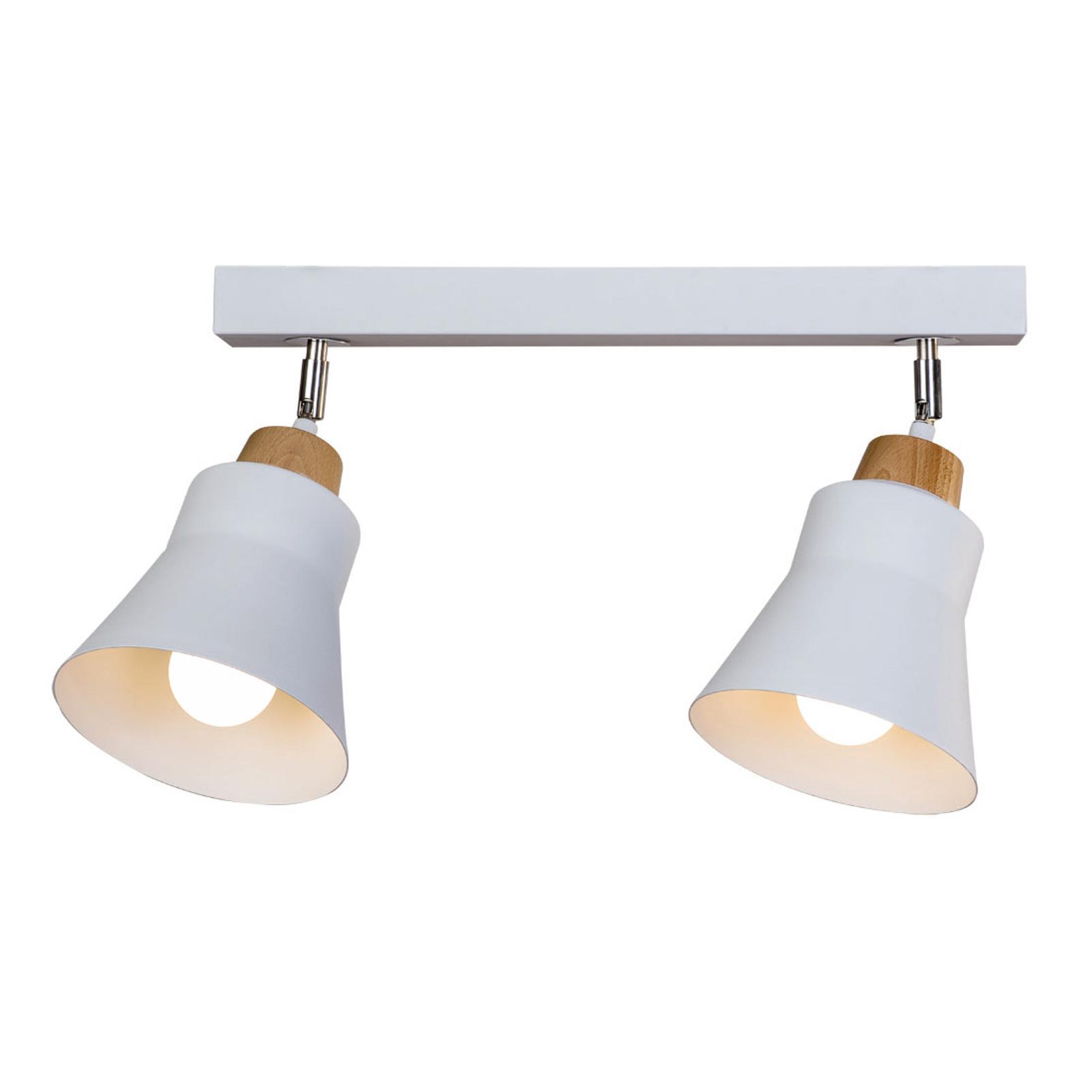 Kattovalaisin Wood, 2-lamppuinen, valkoinen