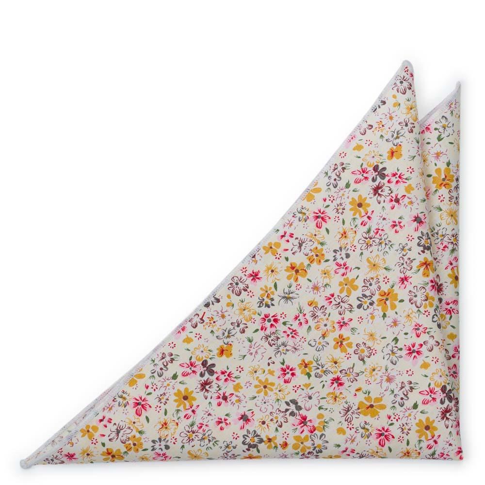 Bomull Lommetørkler, Blek gul & varm rosa, honning og hvite blomster