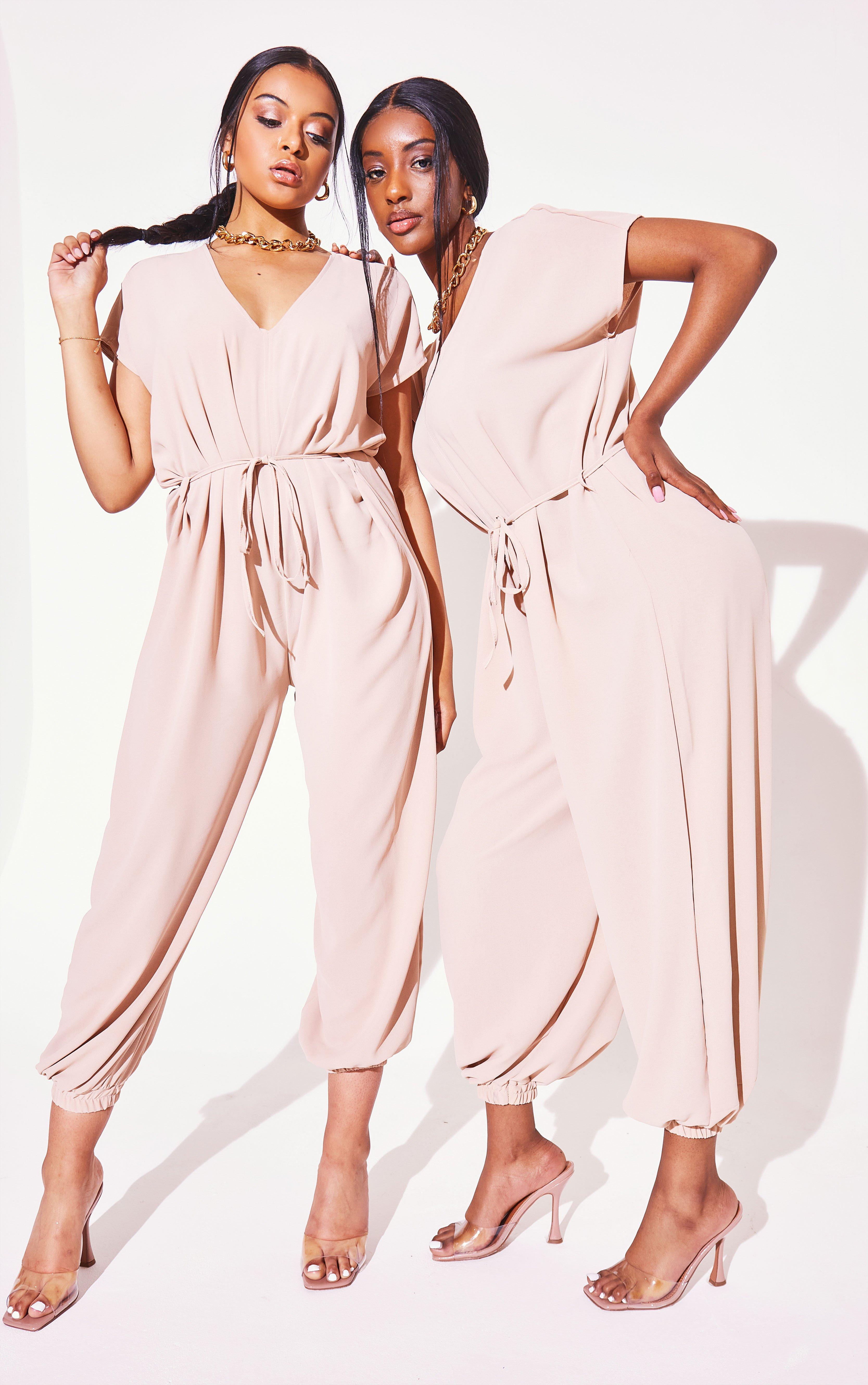 Harem Tie Waist Jumpsuit - Beige / One Size (8-12)