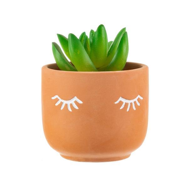 Mini Eyes Shut Terracotta Planter