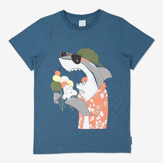 T-skjorte med haitrykk blå