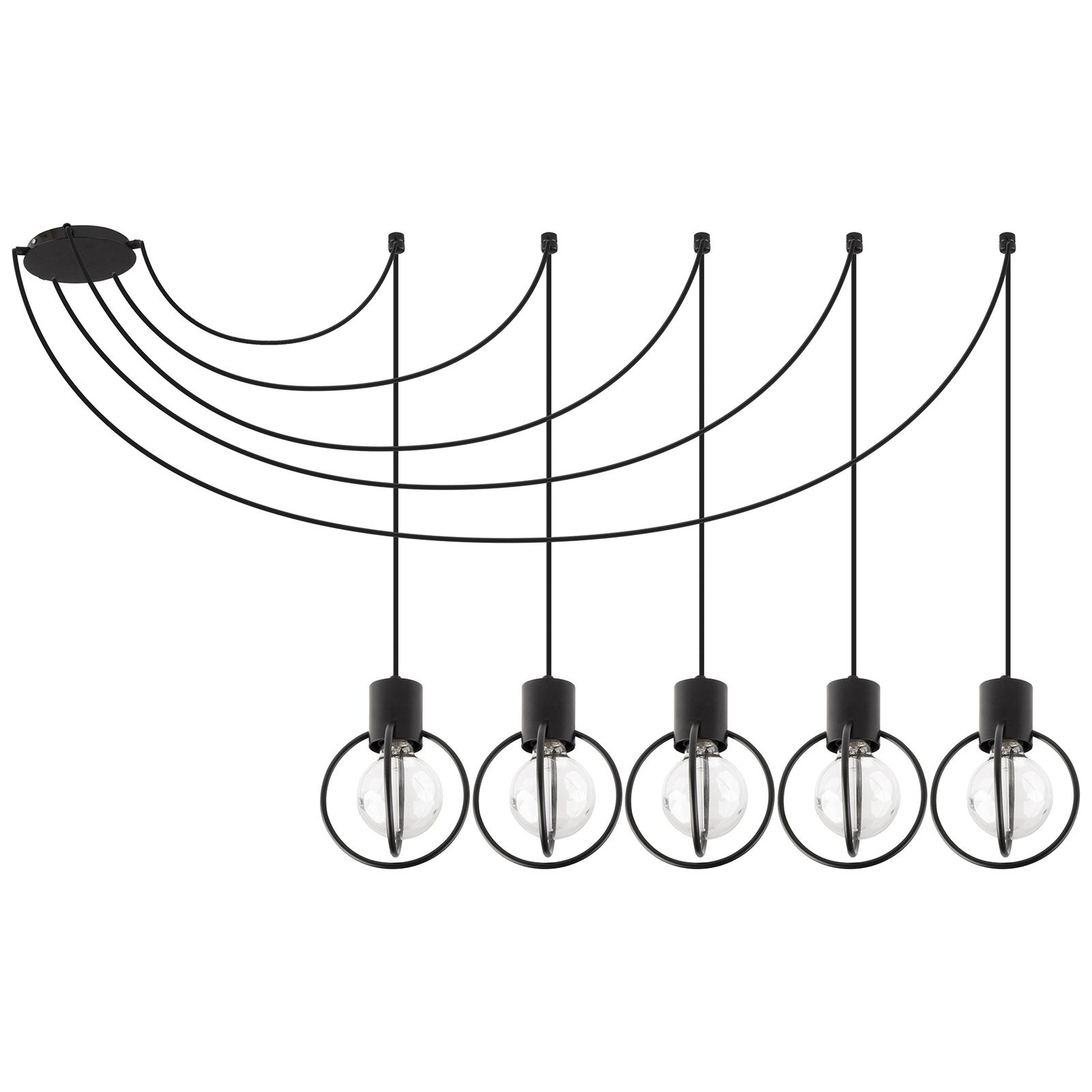 Riippuvalaisin Aura 5, viisilamppuinen, musta