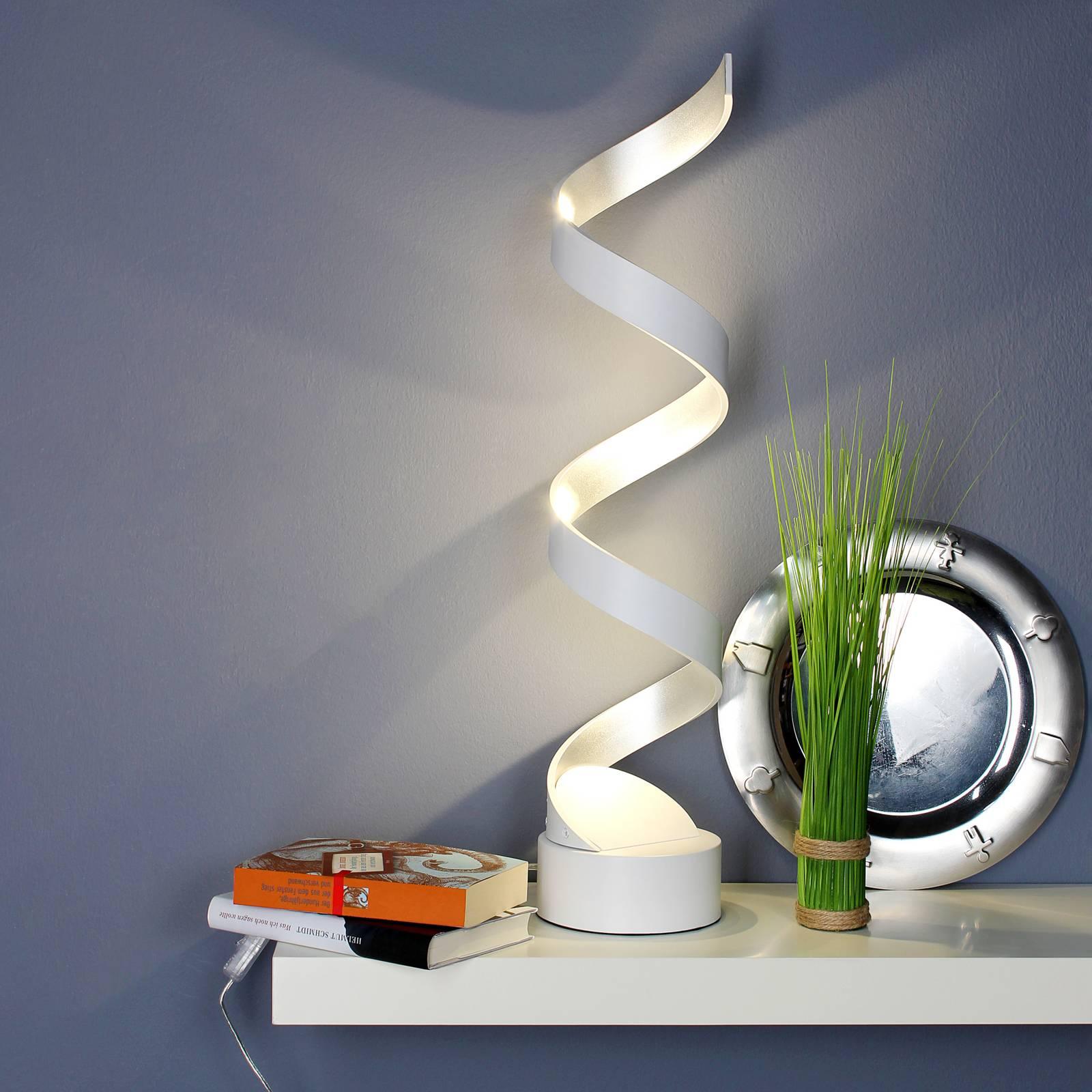LED-pöytävalaisin Helix, 74 cm, valkoinen-hopea