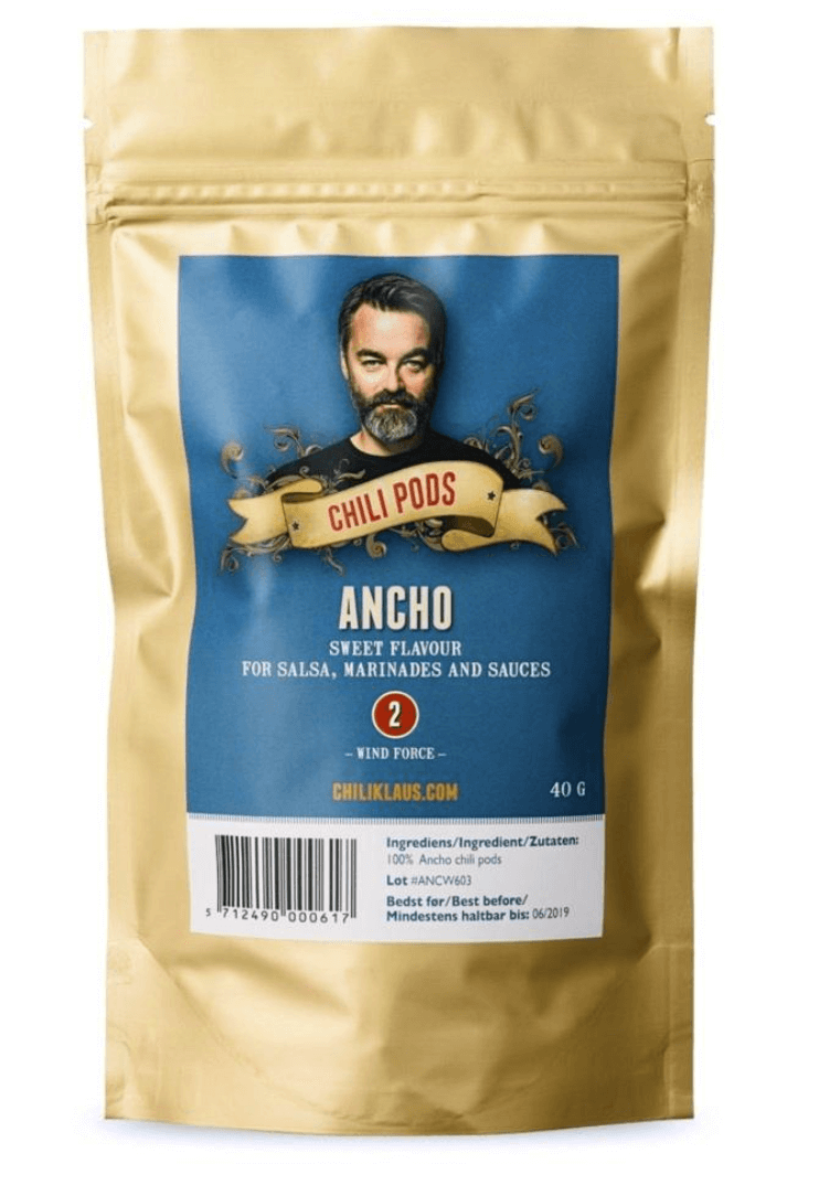 Chili Klaus Ancho pods in bag 40g