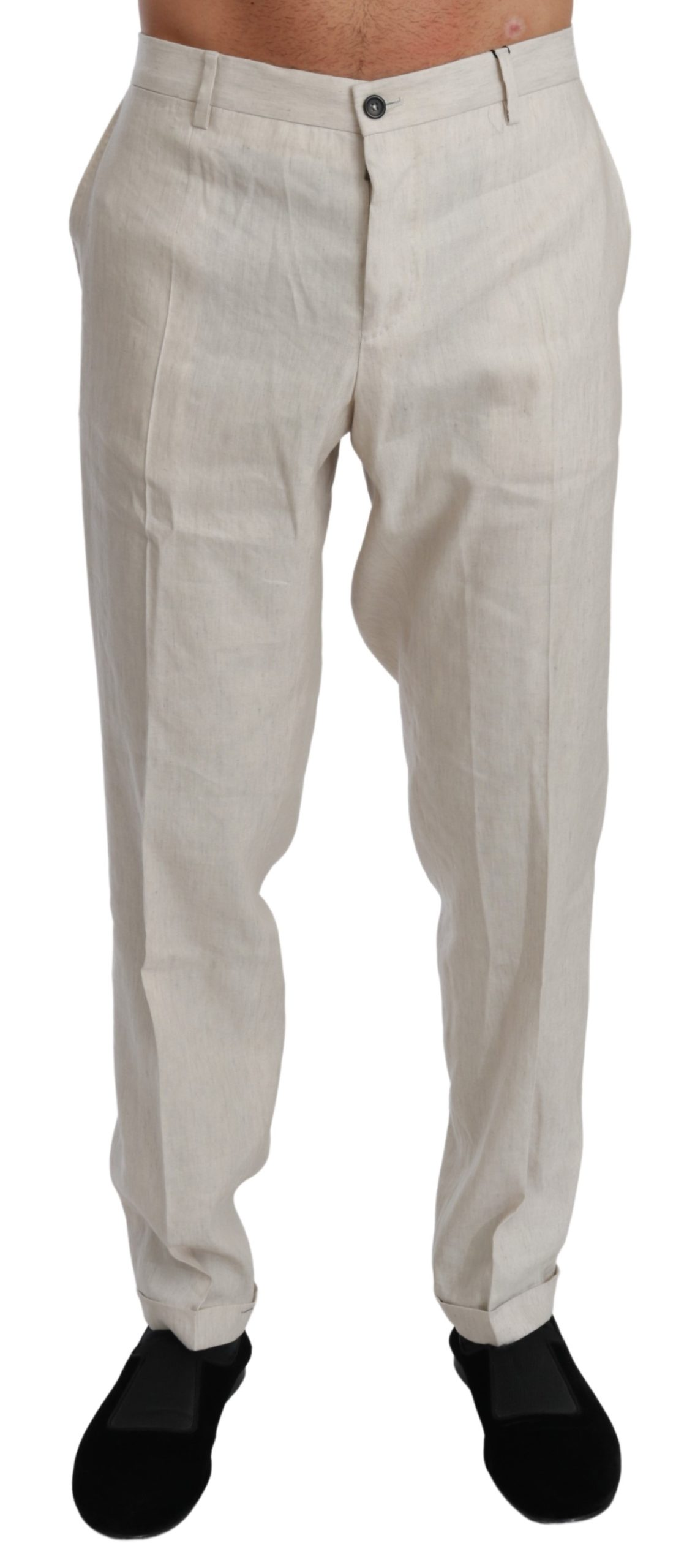 Dolce & Gabbana Men's Linen Casual Flax Trouser White PAN70993 - IT52   XL