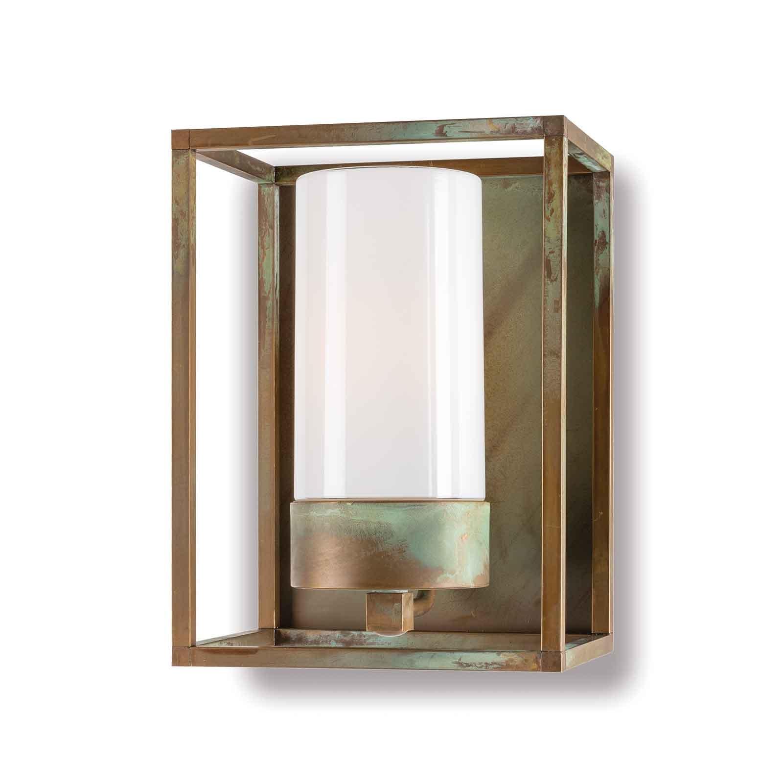 Cubic³ 3366 utendørs vegglampe antikk messing/opal