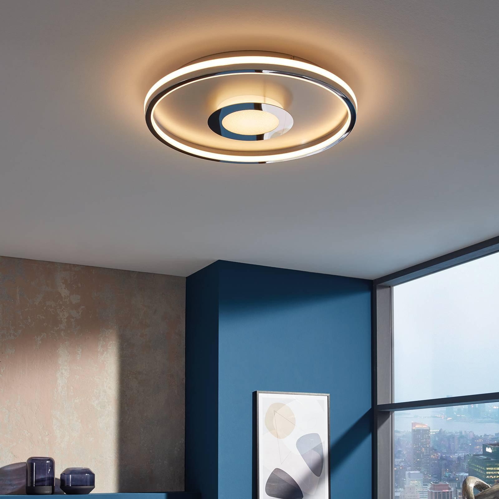 LED-taklampe Bug rund, krom, 81 cm