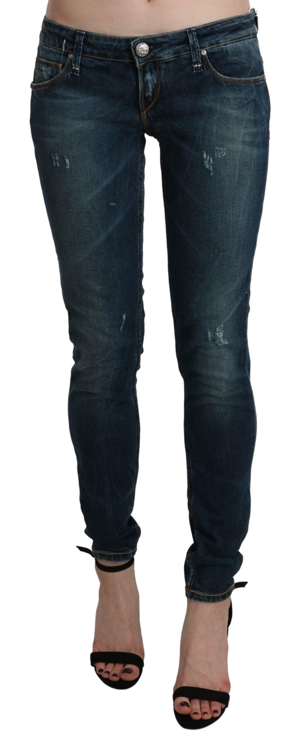 Blue Washed Low Waist Skinny Denim Jeans - W29