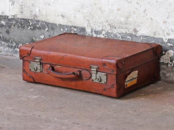 Brown Antique Leather Suitcase Medium