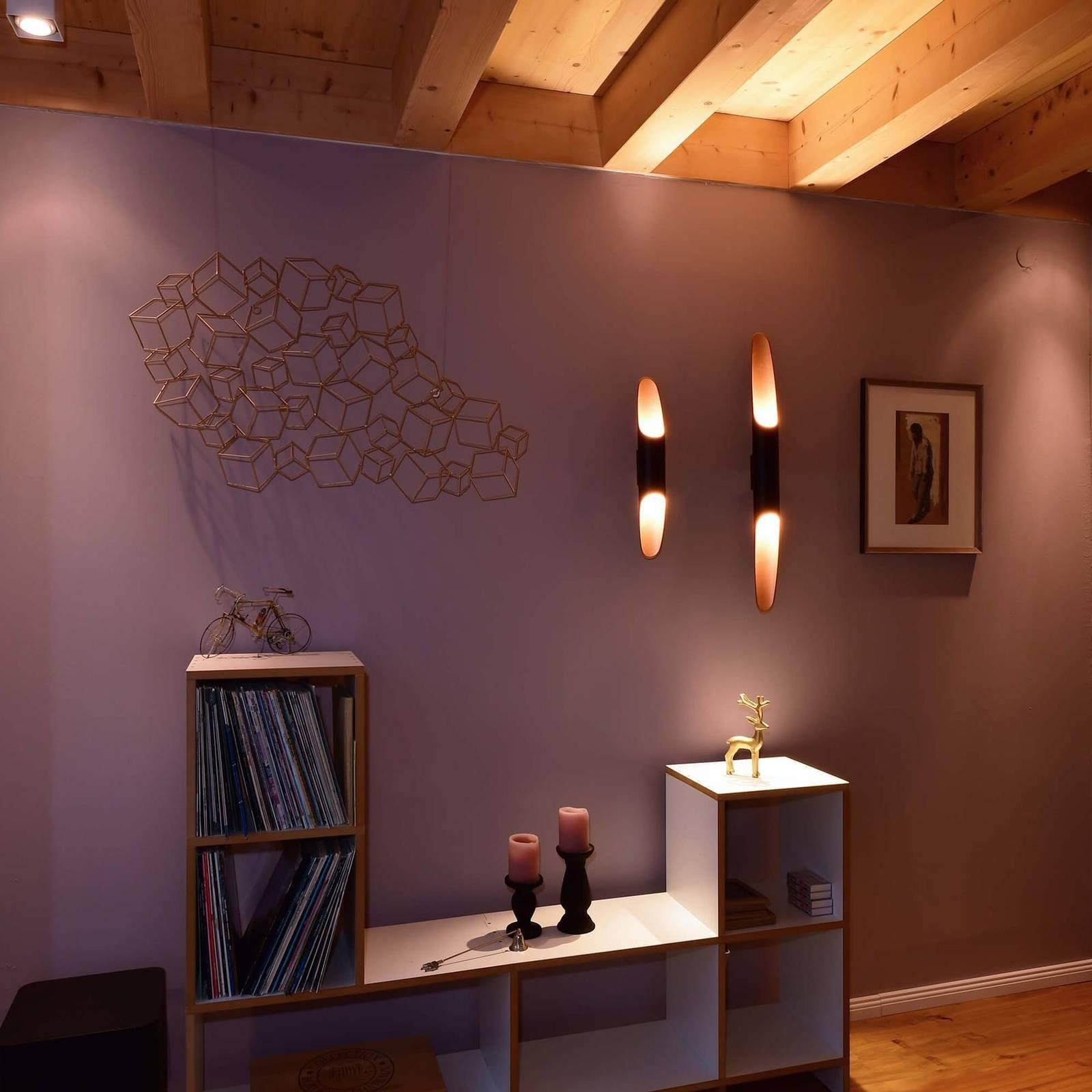LED-seinävalaisin Apodis, 50 cm ruusukulta/musta