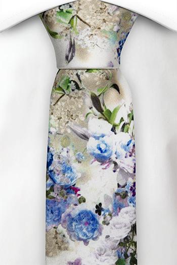 Silke Smale Slips, Blå, hvite og lilla blomster på hvitt, Hvit, Blomstrete