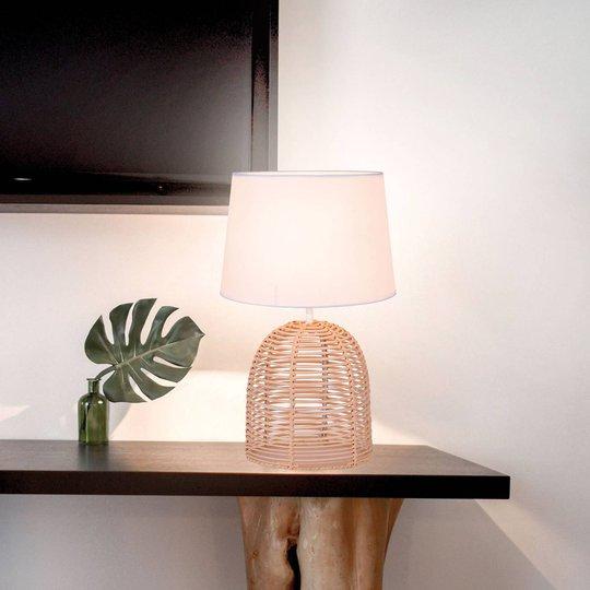 Bordlampe Marion av rattan og tekstil, Ø 30 cm