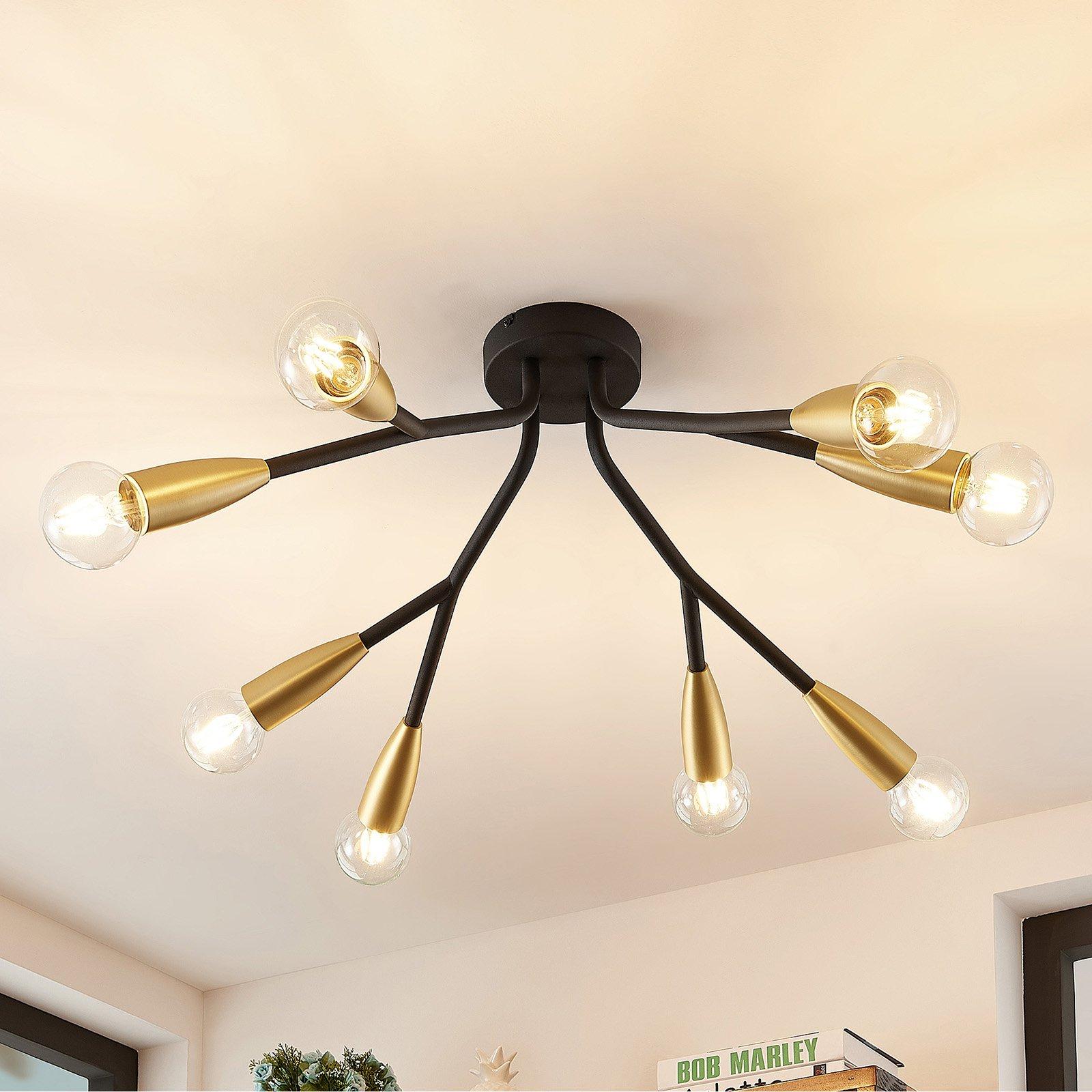 Lucande Carlea taklampe, 8 lysk. svart messing
