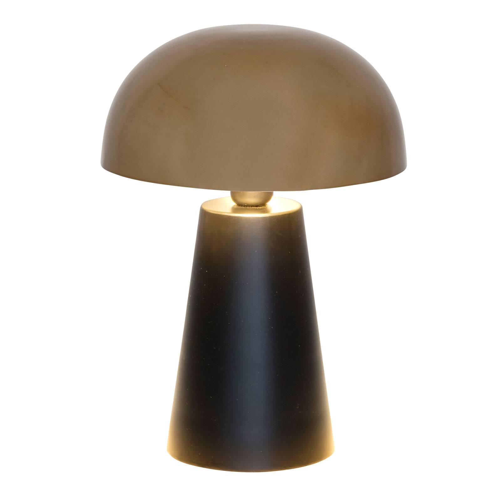 Pöytävalaisin Fungo, tyylikäs muotoilu musta/kulta