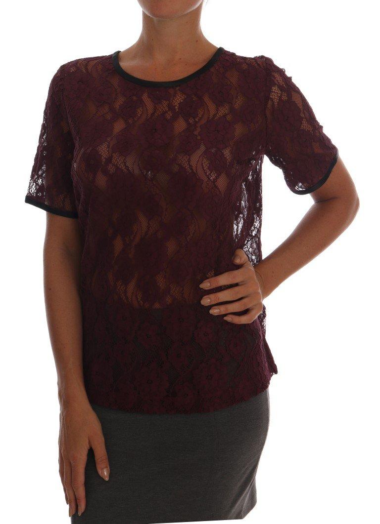 Dolce & Gabbana Women's Floral Lace Top Purple TSH1414 - IT42|M