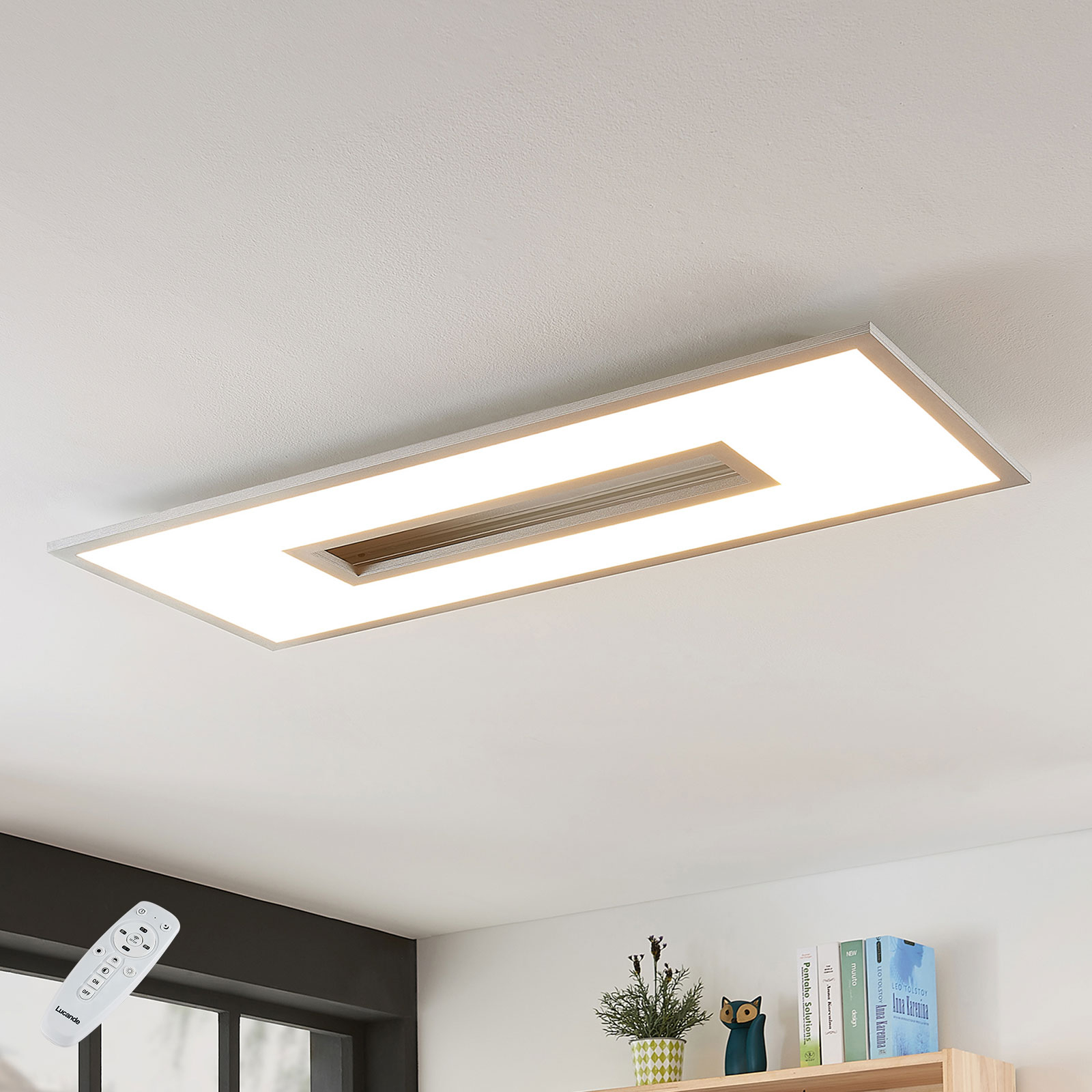 LED-kattovalo Durun, himmenn., CCT, kulmikas, 96cm