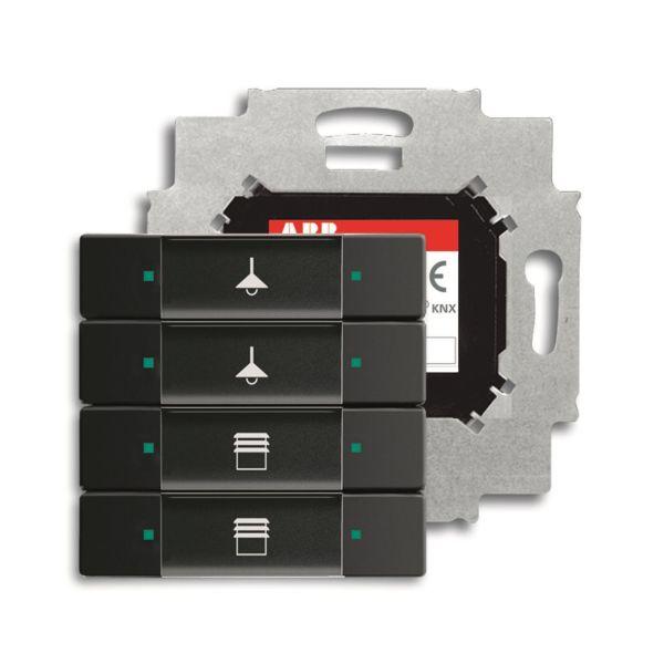 ABB Impressivo 6117-0-0231 Painike 4-napainen painike, väyläliitäntäyksiköllä, KNX Musta