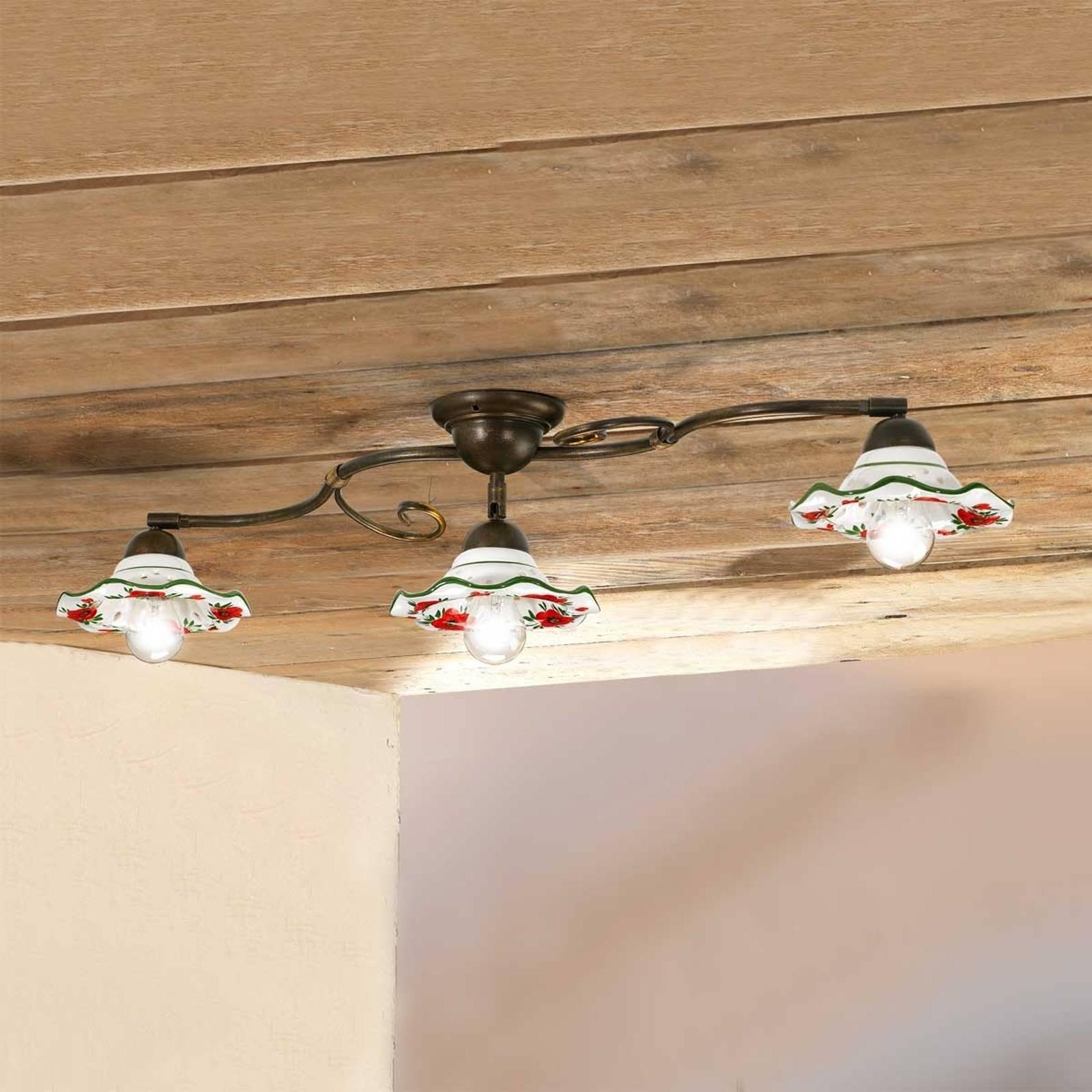 ROSOLACCI taklampe med keramikkskjermer og tre lys