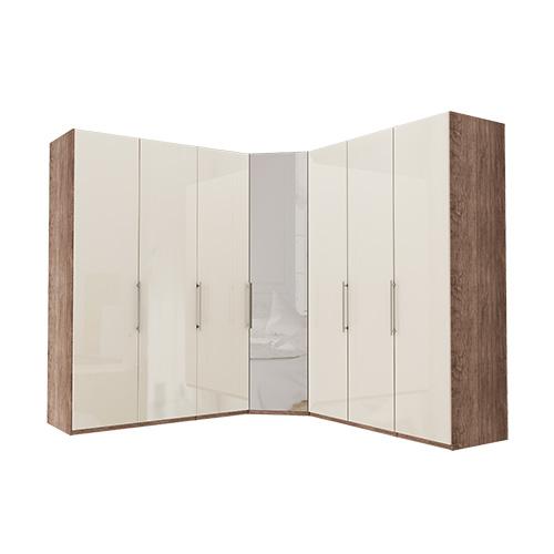 Garderobe Atlanta - Mørk rustikk eik 150 + hjørne + 150, 216 cm