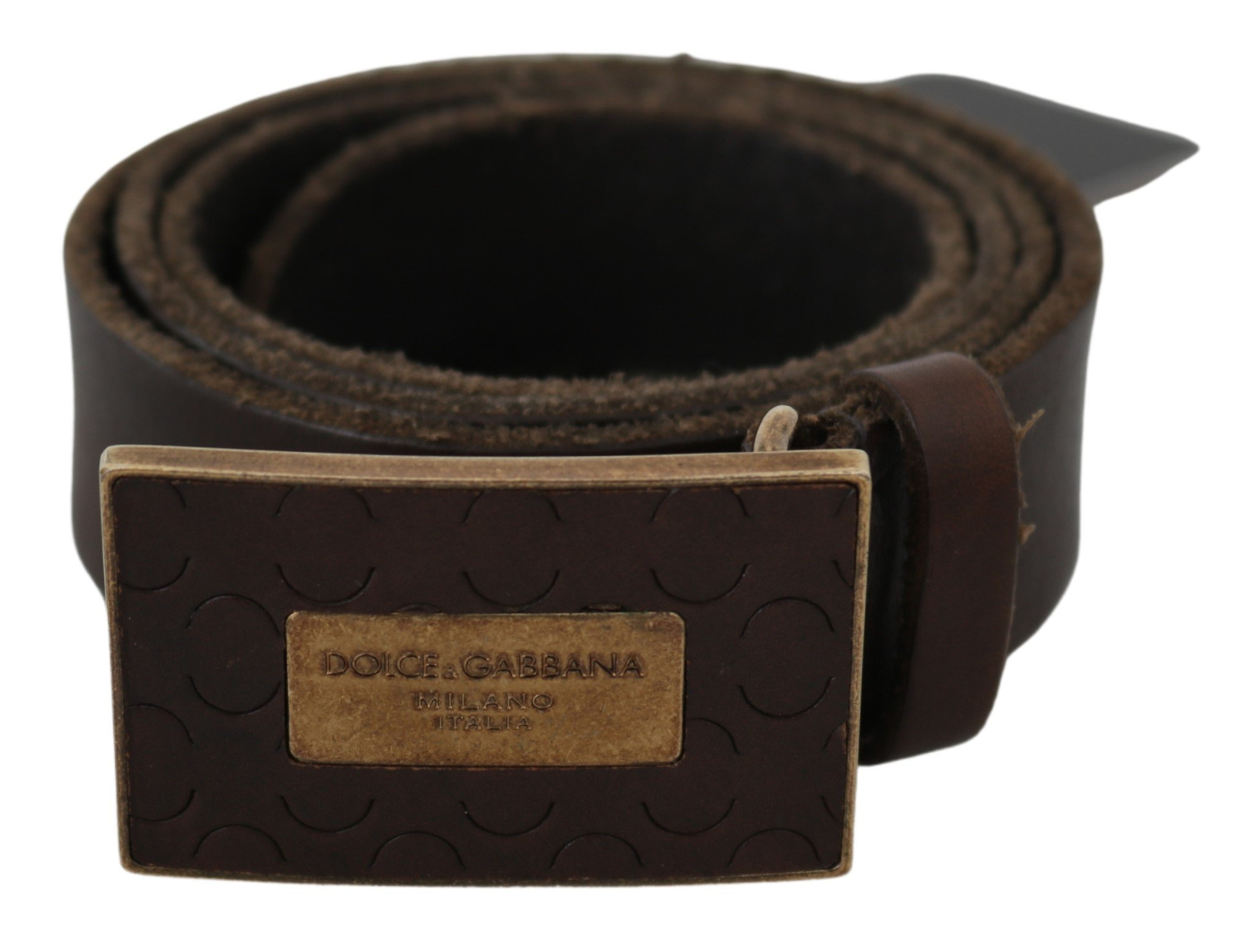Dolce & Gabbana Men's Gold Logo Buckle Belt Brown BEL60799 - 80 cm / 32 Inches